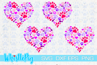 Print on Demand: Animal Heart Paw Print Set Cat Dog Mom Graphic Crafts By Whistlepig Designs