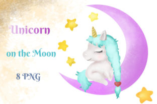 Baby Unicorn on the Moon, Cute Animals Graphic Illustrations By Iva Art