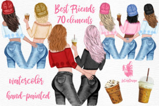 Print on Demand: Best Friends Clipart Girl Illustrations Graphic Illustrations By LeCoqDesign