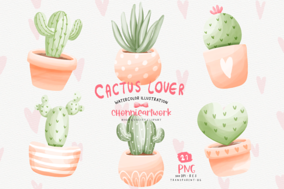 Print on Demand: Cactus Pots PNG Bundle, Cactus PNG Graphic Crafts By Chonnieartwork