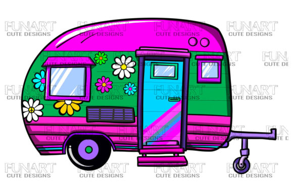 Camping Caravan Hippie Designs , Png Graphic Illustrations By Fundesings