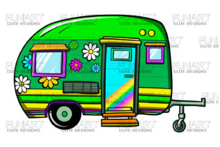 Camping Van Clipart  , Png  , Caravan Graphic Illustrations By Fundesings