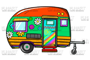 Caravan Clipart, Camping Lovers Grafik Illustrationen von Fundesings