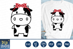 Cute Cow with Bow Svg File Clipart Graphic Illustrations By Pila Studio