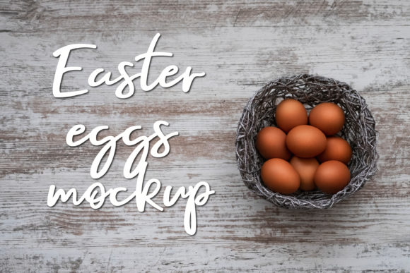 Print on Demand: Easter Eggs Mockup   Wooden Background Graphic Holidays By Art's and Patterns