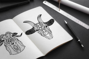 Print on Demand: Goat Mandala Coloring Pages Graphic Print Templates By TypeFactory