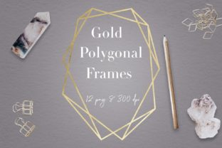 Print on Demand: Gold Geometric Frames Graphic Objects By northseastudio