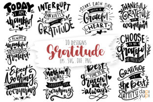Print on Demand: Gratitude Lettering Quotes Bundle Graphic Crafts By dapiyupi