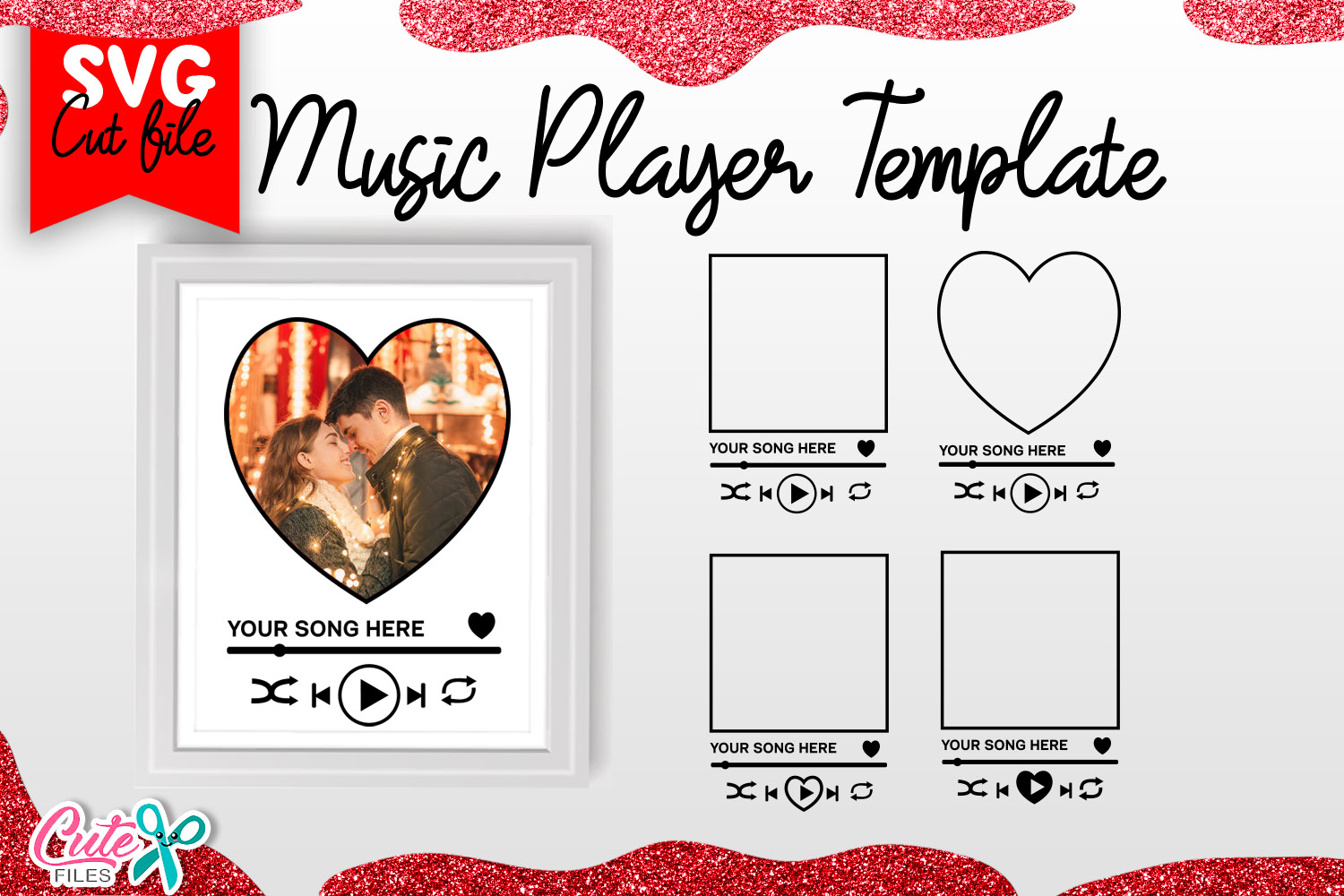 Music Player Template SVG for Valentines SVG File