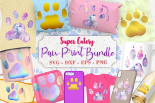 Print on Demand: Paw Print Bundle Cat Dog Animal Print Graphic Crafts By Whistlepig Designs