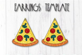 Pizza Earrings Template Graphic 3D SVG By ArtiCuties