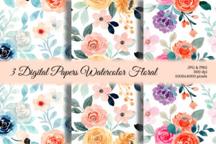 Print on Demand: Seamless Pattern Floral Watercolor 130 Gráfico Moldes Por asrulaqroni