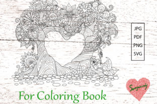 Trees Bend into Heart Shape Graphic Coloring Pages & Books Adults By somjaicindy