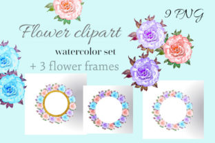 Watercolor Floral Round Frames Clipart Graphic Illustrations By Iva Art