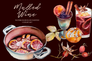 Watercolor Mulled Wine Clipart Set Graphic Illustrations By artcreationsdesign