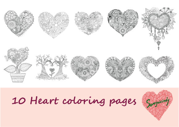10 Hearts Coloring Pages Graphic Coloring Pages & Books Adults By somjaicindy