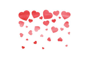 Watercolour Heart Shower Valentine's Day Craft Cut File By Creative Fabrica Crafts