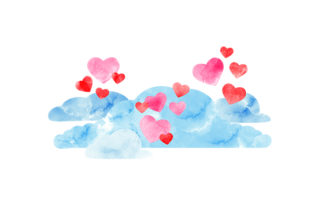 Watercolour Heart Cloud Valentine's Day Craft Cut File By Creative Fabrica Crafts