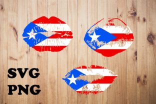 3 Puerto Rico Flag Lips Graphic Illustrations By JamSafariArt