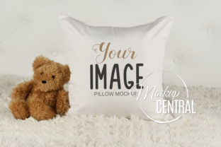 Child's White Square Mockup Bed Pillow Gráfico Mockups de Productos Por Mockup Central