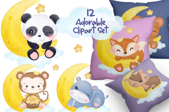 Print on Demand: Cute Animals in Watercolor Clipart Set Graphic Illustrations By DrawStudio1988