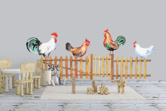 Happy Chicken Clipart Graphic Preview