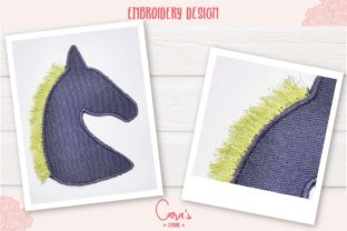 Horse Patch with Fringes Horses Embroidery Design By carasembor