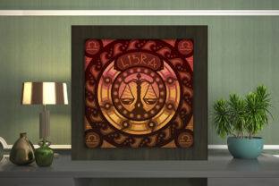 Print on Demand: Libra Zodiac Light Box Shadow Box Graphic 3D Shadow Box By LightBoxGoodMan
