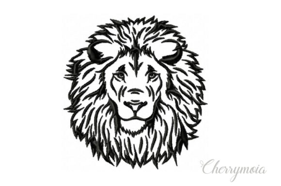 Lion's Head Wild Animals Embroidery Design By CherrymoiaEmbroidery