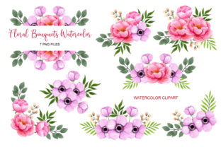 Set of the Floral Bouquet Clip Art Graphic Print Templates By UrufaArt
