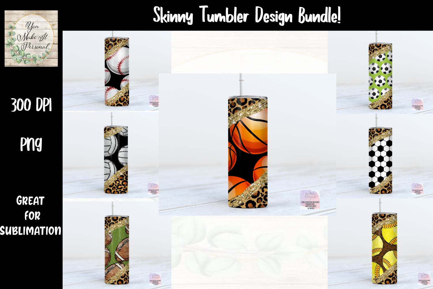 Skinny Tumbler, Sports and Leopard SVG File