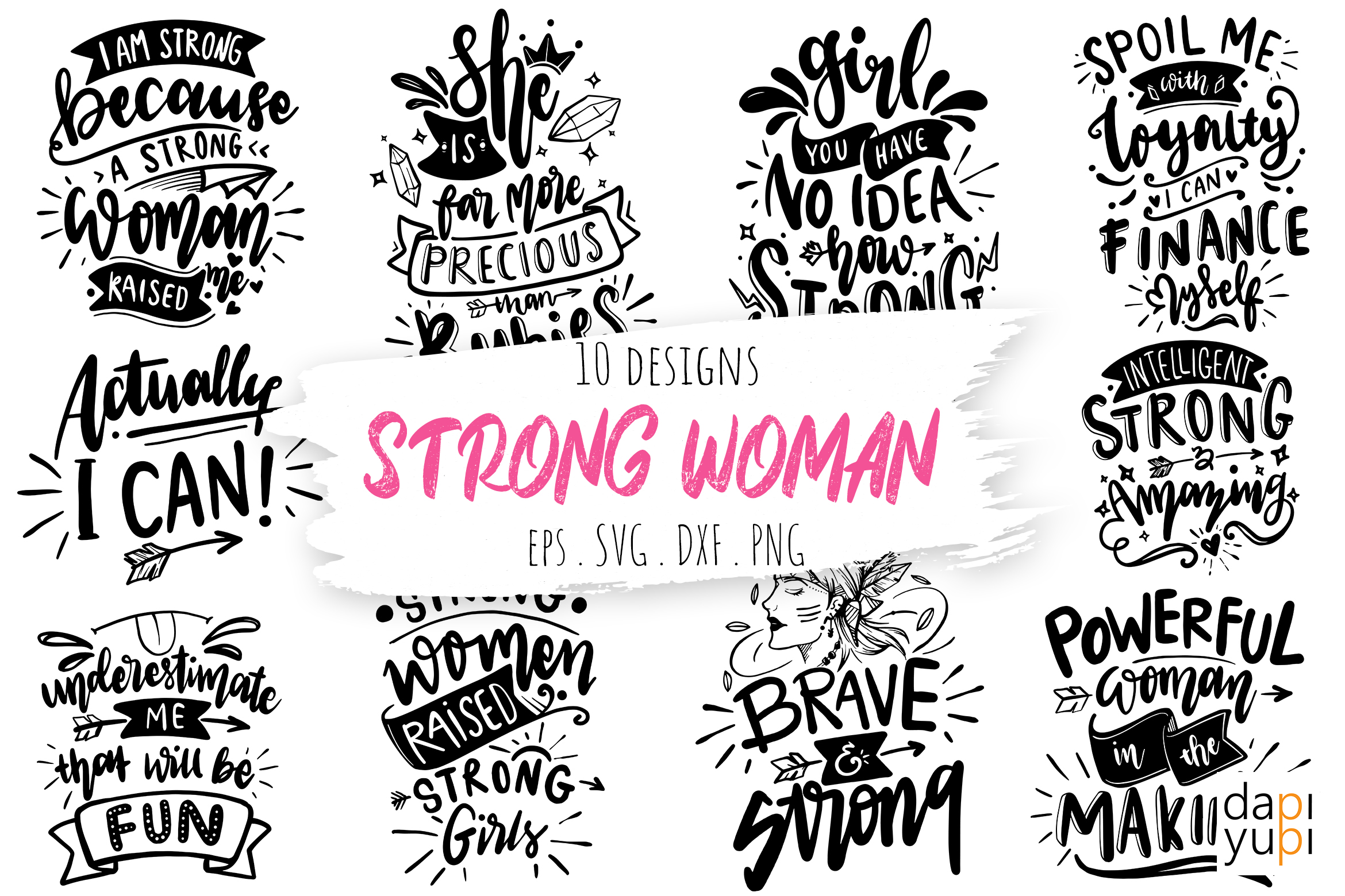 Strong Woman Lettering Quotes Bundle SVG File