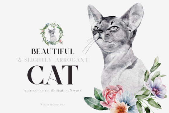 Print on Demand: Watercolor Cat Portrait with Flowers PNG Graphic Illustrations By Busy May Studio