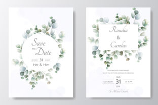 Wedding Card Set with Floral and Leaves Graphic Print Templates By dinomikael01