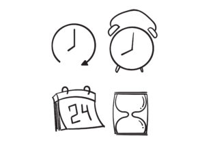 Print on Demand: Doodle  Time and Clock Graphic Icons By GwensGraphicstudio
