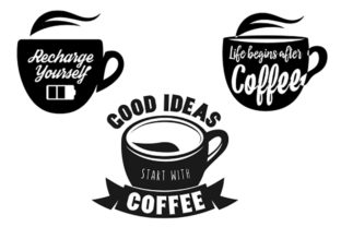 Print on Demand: 3 Coffee Cups Quotes Graphic Crafts By CarryBeautySVG