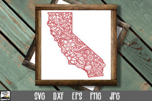Print on Demand: California SVG File - California Mandala Gráfico Crafts Por oldmarketdesigns