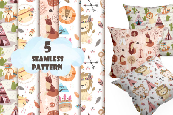 Print on Demand: Cute Tribal Digital Pattern Collection Graphic Patterns By DrawStudio1988