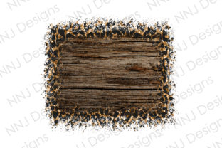 Print on Demand: Distressed Leopard Rustic Wood Frame Graphic Illustrations By NNJ Designs