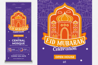 Eid Mubarak Roll Up Banner Graphic Print Templates By medzcreative