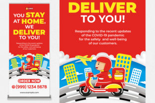 Food Delivery Roll Up Banner Graphic Print Templates By medzcreative