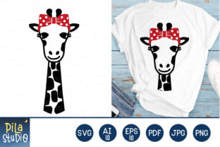 Giraffe with Bow Svg File Clipart Graphic Illustrations By Pila Studio