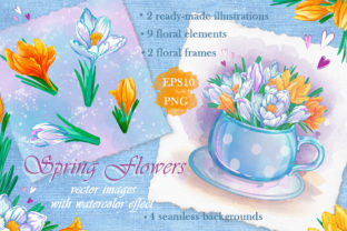 Spring Flowers. Watercolor Effect. Graphic Illustrations By Maycat