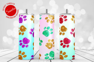 Print on Demand: Tumbler Sublimation Glitter Pet Paws Graphic Crafts By DTCreativeLab