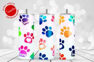 Print on Demand: Tumbler Sublimation Watercolor Paws Graphic Crafts By DTCreativeLab