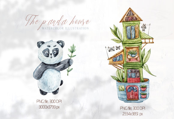 Print on Demand: Watercolor Cute Panda and Bamboo Clipart Graphic Illustrations By Tiana Geo