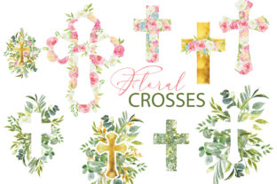 Watercolor Floral Easter Cross Clipart Graphic Illustrations By lena-dorosh