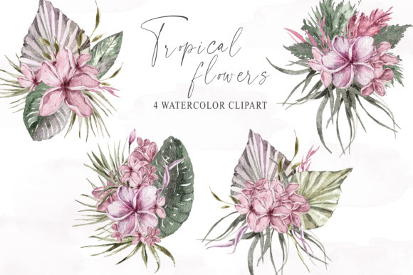 Print on Demand: Watercolor Tropical Bouquets Clipart Graphic Illustrations By Tiana Geo
