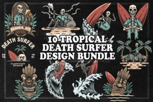Print on Demand: 10 TROPICAL DEATH SURFER DESIGN BUNDLE Grafik Illustrationen von fluffyartstudio