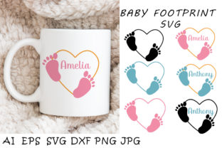 Print on Demand: Baby Footprint Monogram. Baby Feet Svg Graphic Illustrations By vitaminka26